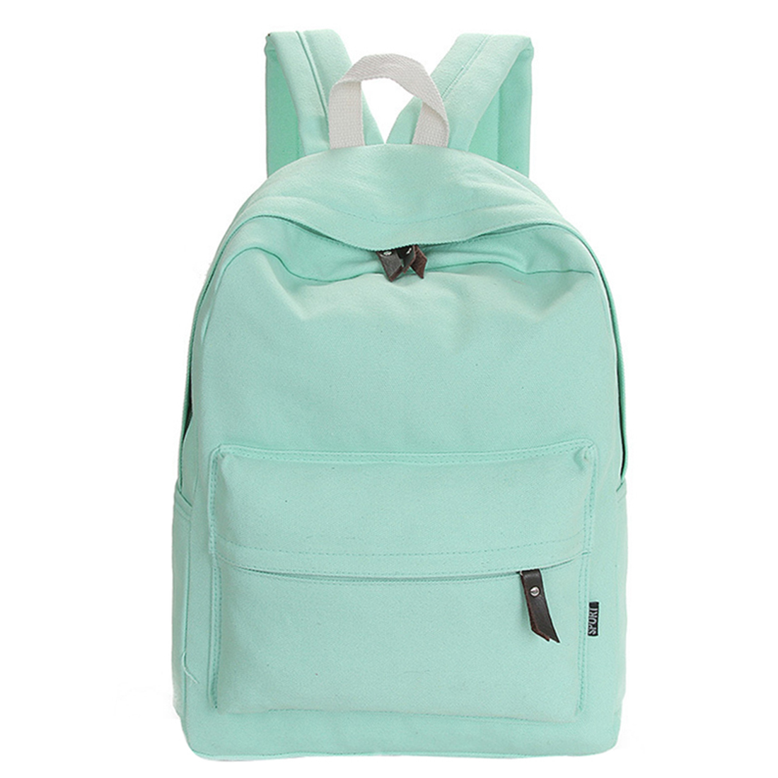 Fresh Pure Colors Casual Canvas Backpack Fashion School Bag For Girls And Boys Unisex Backpack Shoulder Bag