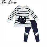 2 Pc 3-8Years ילדים בנות שרוול ארוך חתול חמוד פסי שקית למעלה בחולצת טריקו מכנסיים חותלות חתול תלבושות אאטאם חורף סתיו סוודר חם בגדים