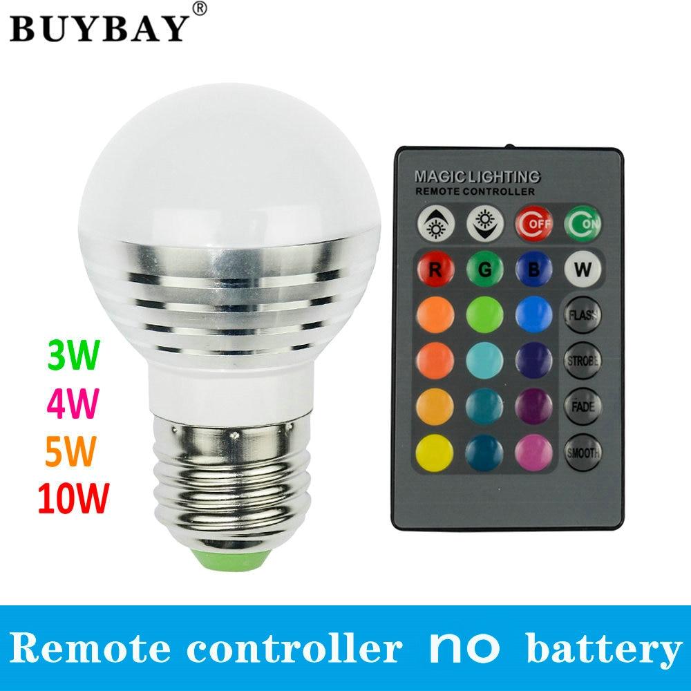 3W 4W 5W 10W RGB LED Lamp E27 Spotlight Lampada LED Bulb 85-265V Christmas Lanterna Bombillas remote controller with battery электросамокат ezip e 4 5
