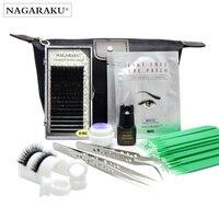 NAGARAKU kit for eyelash extensions tweezers glue U Shape lash holder eye pads brushes 0.15C mixed length eyelash in set