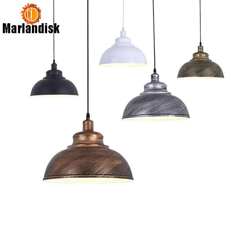 Rétro noir/blanc fer Foyer suspension lumière E27 lampe douille suspendus lampes 110-240 V Vintage peint lumières salle à manger éclairage