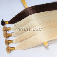 Guanyuhair Full Cuticle Aligned Remy Hair Double Drawn Nail Tip U tip Hair Extensions Keratin Pre bonded Human Hair Extensions