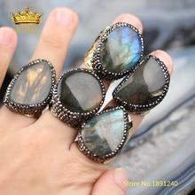 5 pièces Lisse Labradorite Solitaire Bagues Bijoux, Forme Aléatoire vente Flash Labradorite Bague Or Cuivre Pavé Strass Anneaux YT36