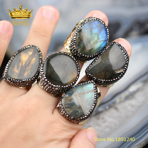 Image 1 - 5pcs Smooth Labradorite Solitaire Rings Jewelry,Random Shape sale Flash Labradorite Ring,Gold Copper Paved Rhinestone Rings YT36