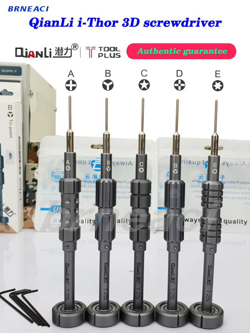 Brneaci QianLi 3D Screwdriver Five Styles Designed For IPhone And Samsung Repairs First-class Disassembly Prevents Slippage