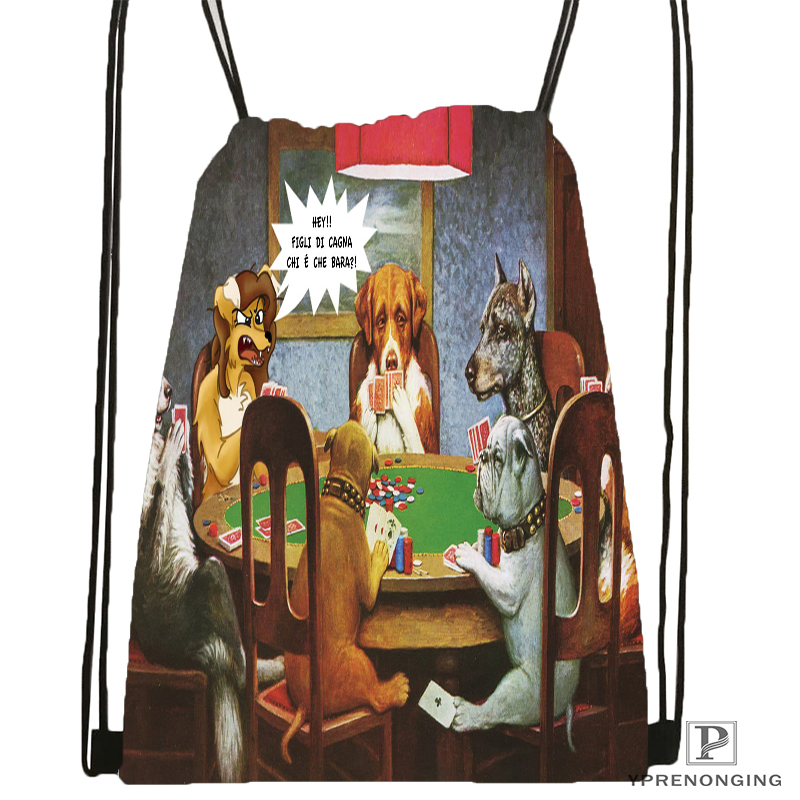 Custom Dogs Playing Poker Drawstring Backpack Bag Cute Daypack Kids Satchel (Black Back) 31x40cm#180531-04-05