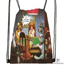 Custom Dogs Playing Poker Drawstring Backpack Bag Cute Daypack Kids Satchel Black Back 31x40cm 180531 04