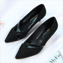 цены Spring Autumn Fashion Women Thin stiletto Pumps Flock Buckle Strap Pointed Toe Feminino High Heels Shoes Woman