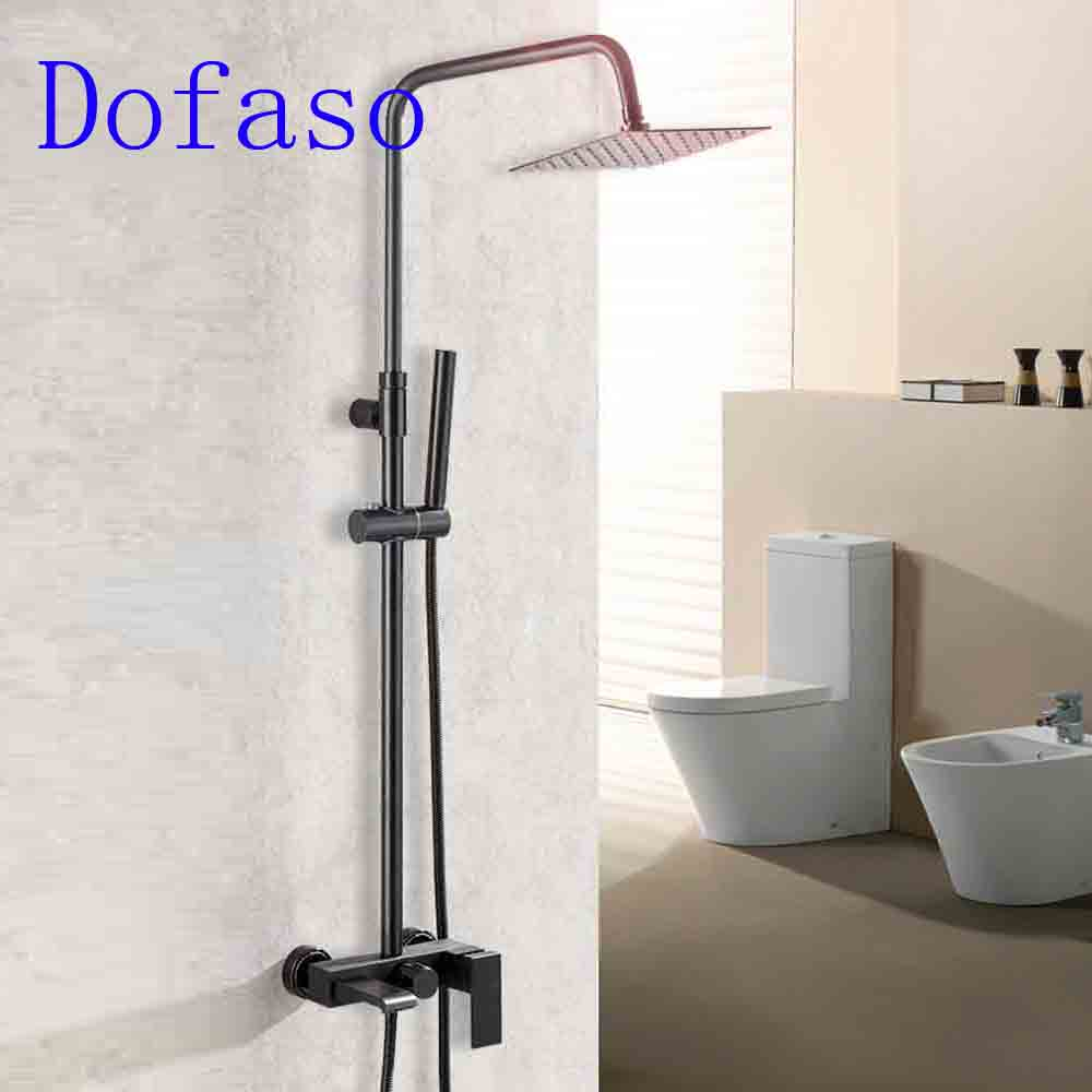 Dofaso Luxury Antique Black Shower Faucet Bath Tap Mixer Retros Matt Shower  Set Rain Vintage Bathroom