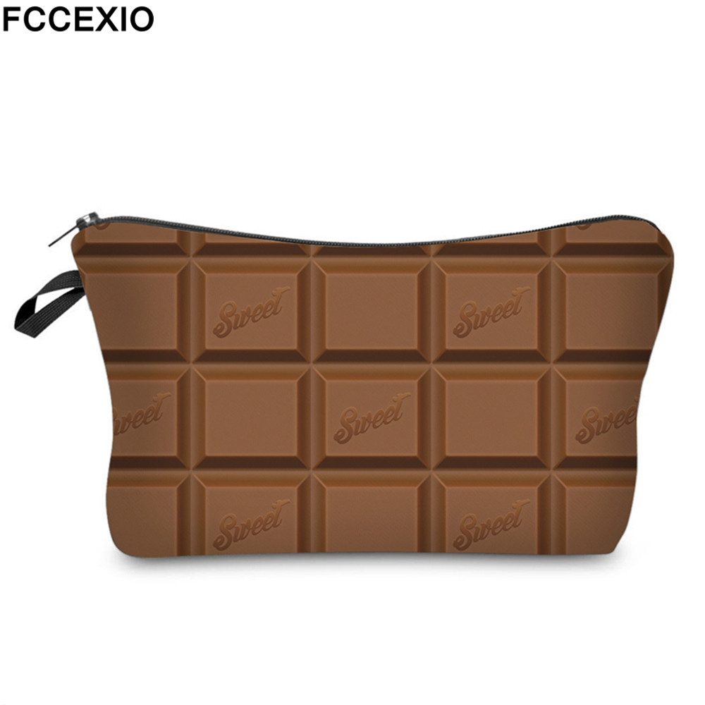 FCCEXIO New 3D Print Makeup Bags With Chocolate Pattern Cute Cosmetics Pouchs For Travel Ladies Pouch Women Cosmetic Bag 08 3d florals pattern u pouch design voile briefs