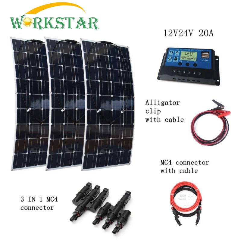 3pcs 100W Flexible Solar Panel with 10A Controller and Extended Cable 36pcs 100W Solar Module Charger Houseuse 300W Solar System 3 100w flexible solar panel efficient