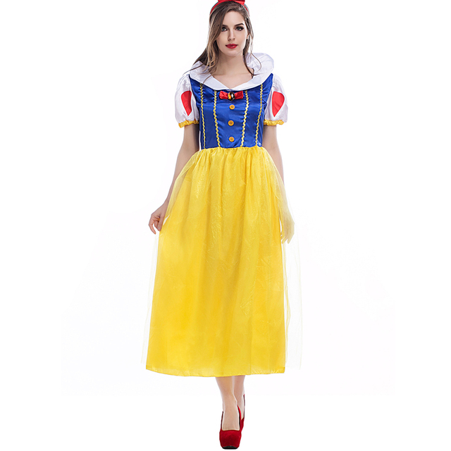 Adult Ladies Elegant Princess Snow White Cosplay Fantasias Costumes Fairy  Tales Themed Party Halloween Fancy Dresses For Women