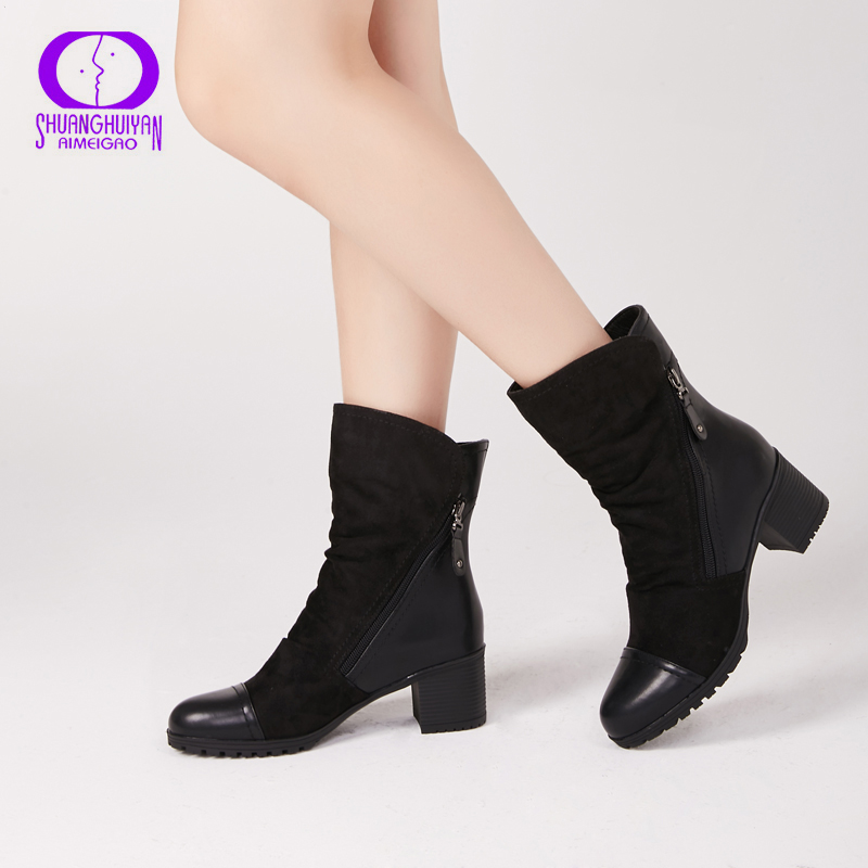 AIMEIGAO New Arrival Women High Heel Ankle Boots Suede Leather Women Boots Double Zip Short Plush Square Heel Black Winter Boots women ankle boots pu leather short plush 7cm high thick block heel square toe white zipper winter black casual office lady boots