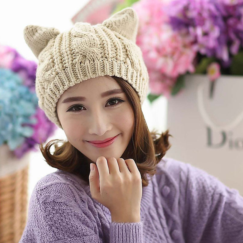 Fashion Women Knitted Wool Hat Cap Lady Girls Cat Ears Gorros Beret Beanie Touca Bonnet Crochet Braided Ski Winter Warm Hats mengpipi womens letters knitted hats winter glass sequins beanie hat cap chapeu gorros de lana touca casquette cappelli bonnets