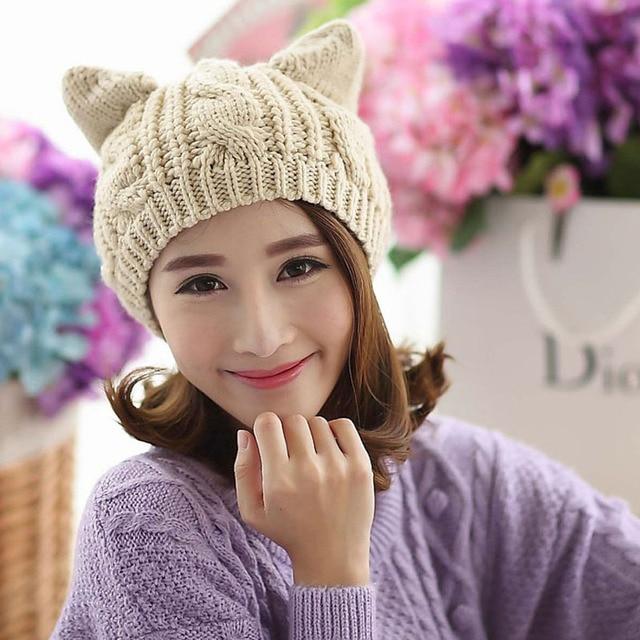 Moda Feminina Malha Cap Chapéu de Lã Orelhas de Gato Senhora Meninas Gorros  Boina Gorro Touca 5d4727fd5fd