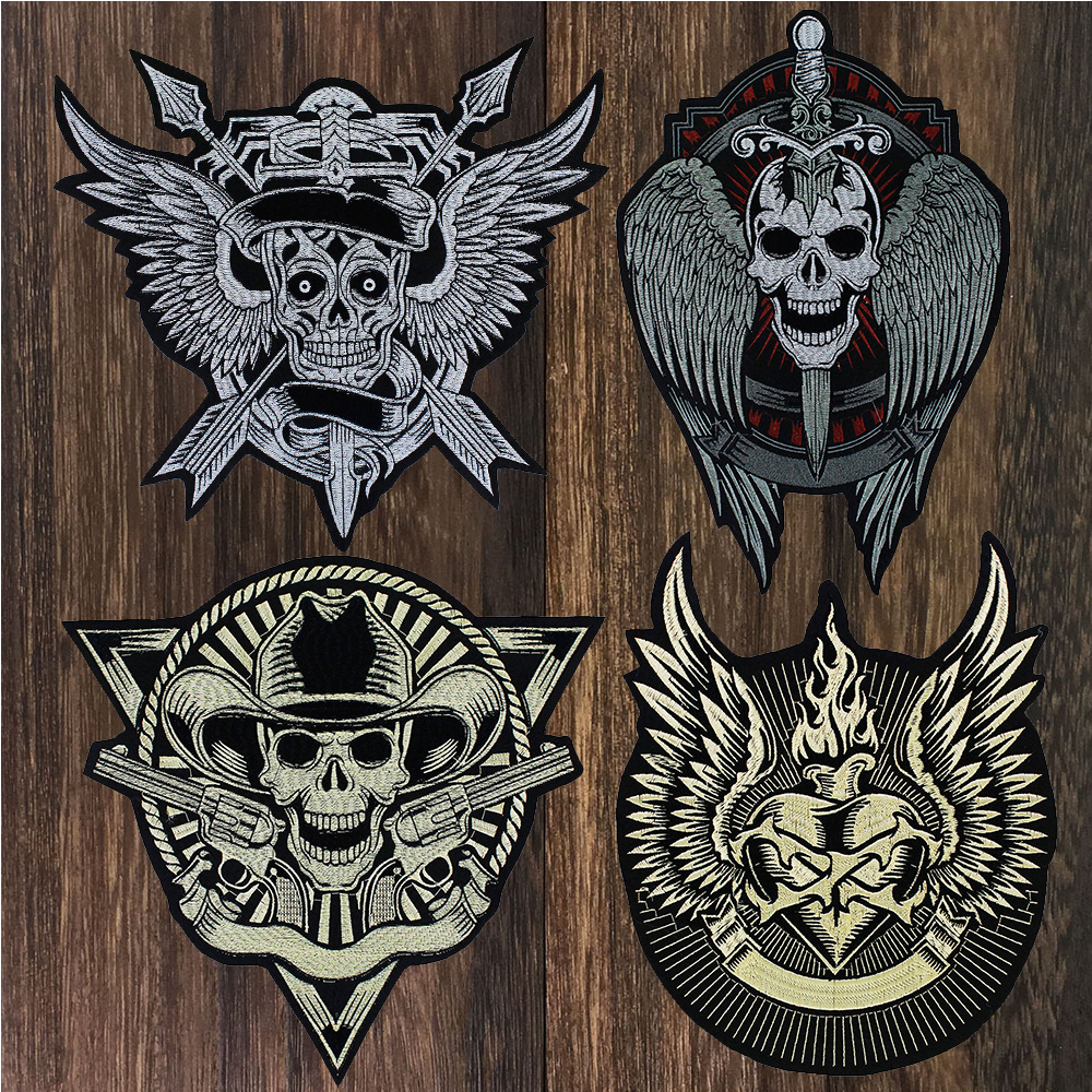 Grandes Asas Do Crânio Do Punk Iron Biker Patch Moral Volta Remendo Crachá Grande Patches Bordados para Roupas Jaqueta Jeans Applique TH1479