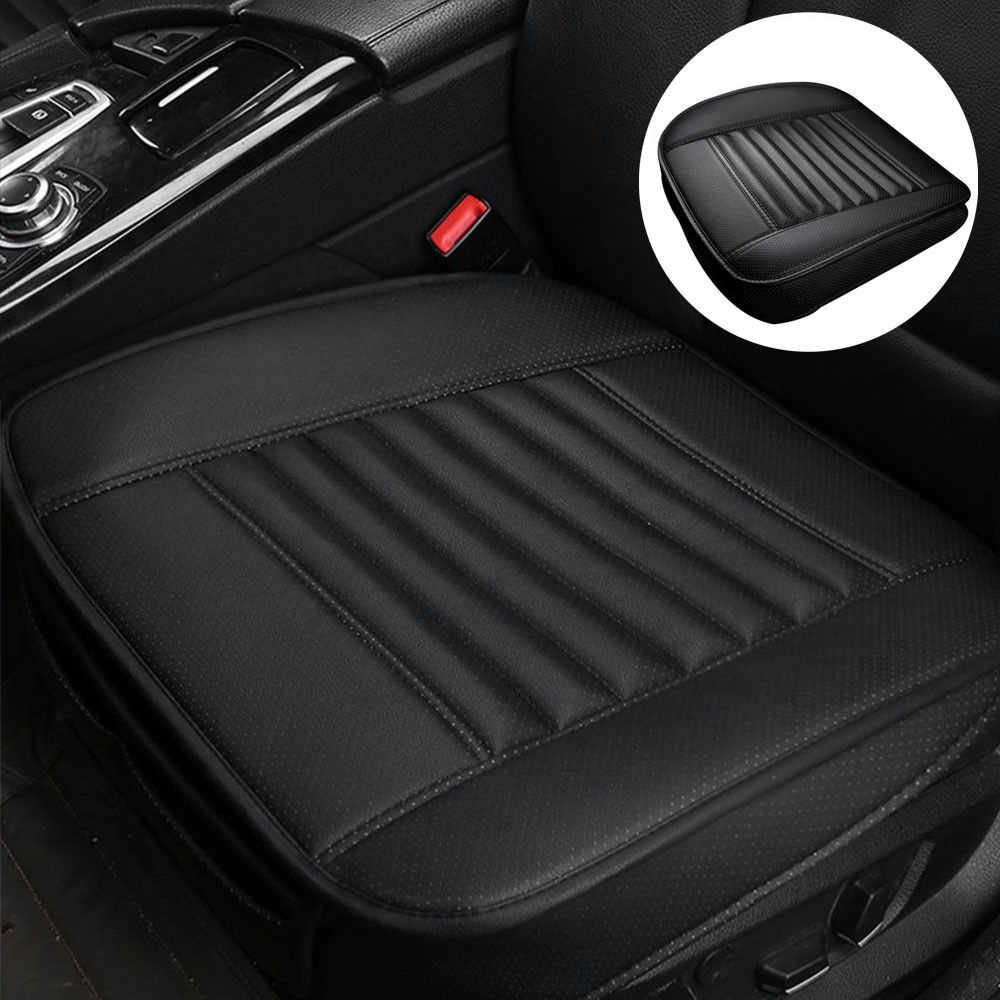 1pcs Car Seat Cover Without Backrest PU Leather Bamboo Charcoal Auto Seat Cushion Automobiles Protective Non-slip Cover Seat