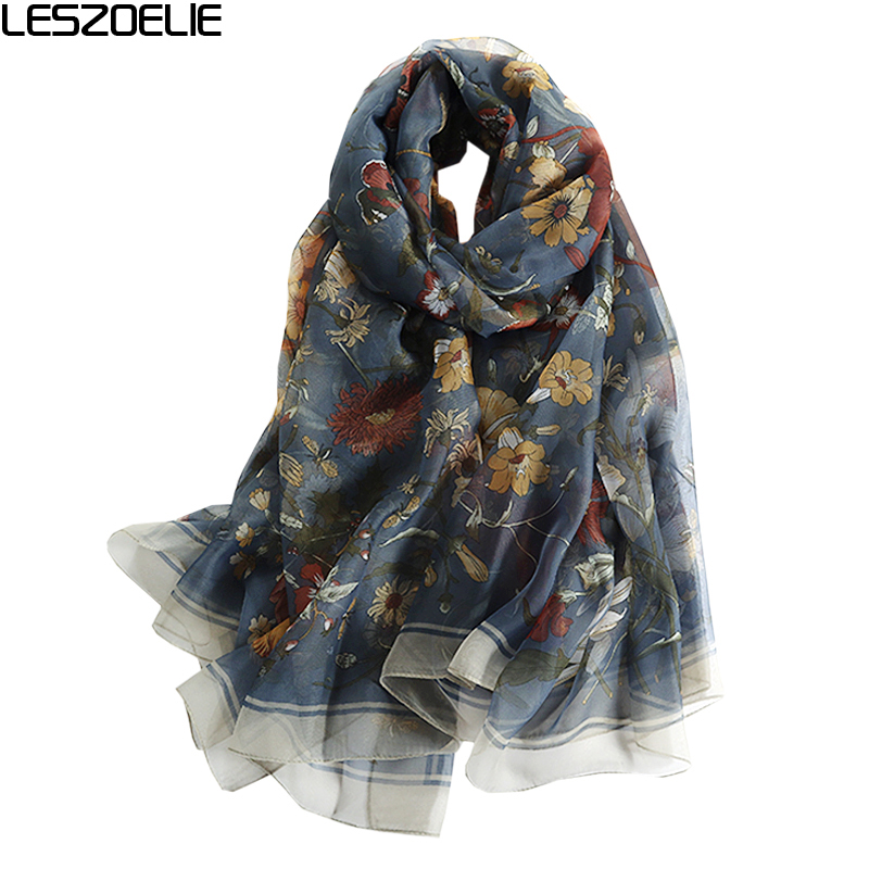 2019 Summer Floral   Scarf   For Women Fashion Long Soft Silk   Scarves     Wraps   Lady Pashmina Shawls Femme Spring Hijabs Foulard
