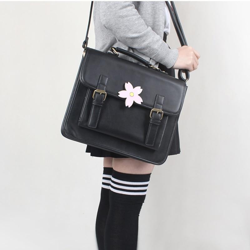 Lolita Sakura Shoulder Bag JK Uniform Cosplay Handbag Japanese School Students Cherry Blossoms 3-ways Bag Briefcase