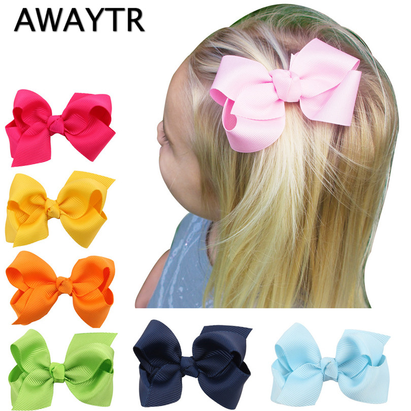 AWAYTR 6-8cm 2Pcs/Lot Girls Hair Bows with Clips Infant Hair Bows Ribbon Bow Clips Children Girls Hair Clip Baby Hair Clips 2 pcs lot 4 high quality pearl hair bow for girls sweet cute hair clips rhinestone ribbon diy fashion headwear