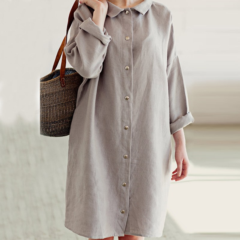 2018 Pregnant Women Dress Casual Loose Knee-length Maternity Clothings Autumn Vintage Long Sleeve Solid Buttons Cotton Dresses