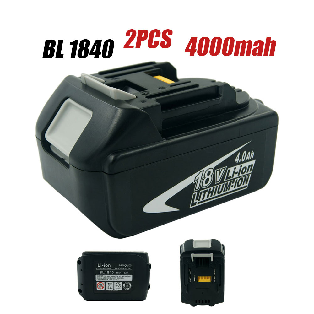2X 18 Volt 4000mAh 4.0A BL1840 Power Tools Replacement batteries for Makita BL1830 BL1850 LXT400 194230-4 194204-5 high quality brand new 3000mah 18 volt li ion power tool battery for makita bl1830 bl1815 194230 4 lxt400 charger