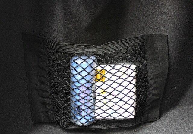 Caja de almacenamiento de malla elástica para asiento trasero Auto