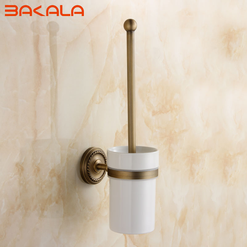 ФОТО Freeshipping Antique Brass Toilet Brush Holder European Style Carving Toilet Brush Cup Holder  GZ9008