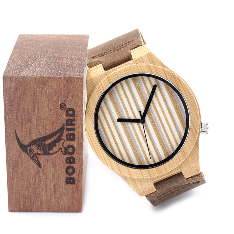 2016 Bamboo Wooden Quartz Watch Mens Top Luxury Brand Japan Movement Watches with Leather Strap Logo Customized Available