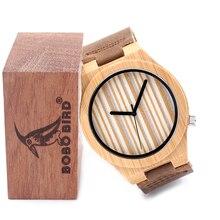 2016 De Bambú de Madera de Cuarzo Reloj Para Hombre Top Marca de Lujo de Japón Movimiento Relojes con Correa de Cuero Logotipo Personalizado Disponible