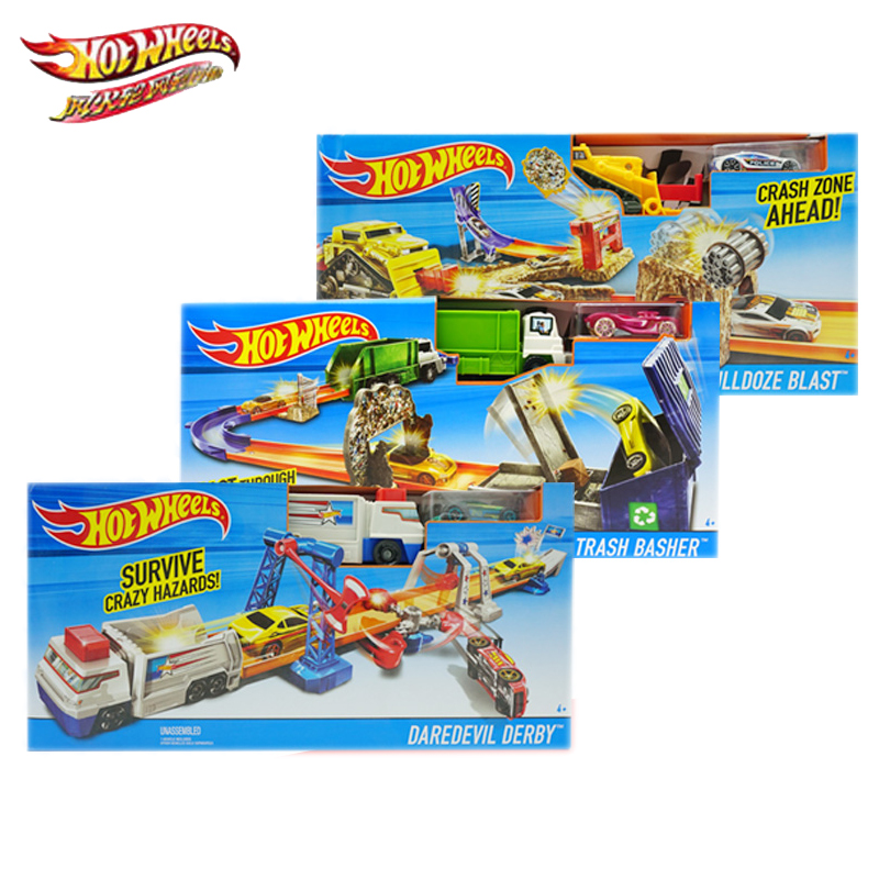 Hot Wheels Sports Car Track Set Blast Through Garbage Alley Circuit DNR74 Boys And Children's Track Combination Toys