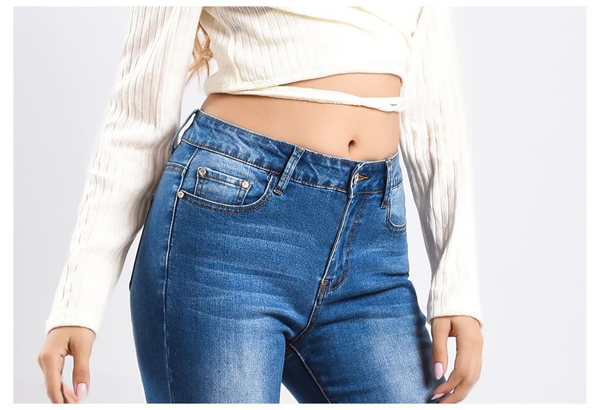 Women\`s dress of Europe and America 2018 new wide leg trousers jeans denim flared trousers women\`s worn-out edge trousers (12)