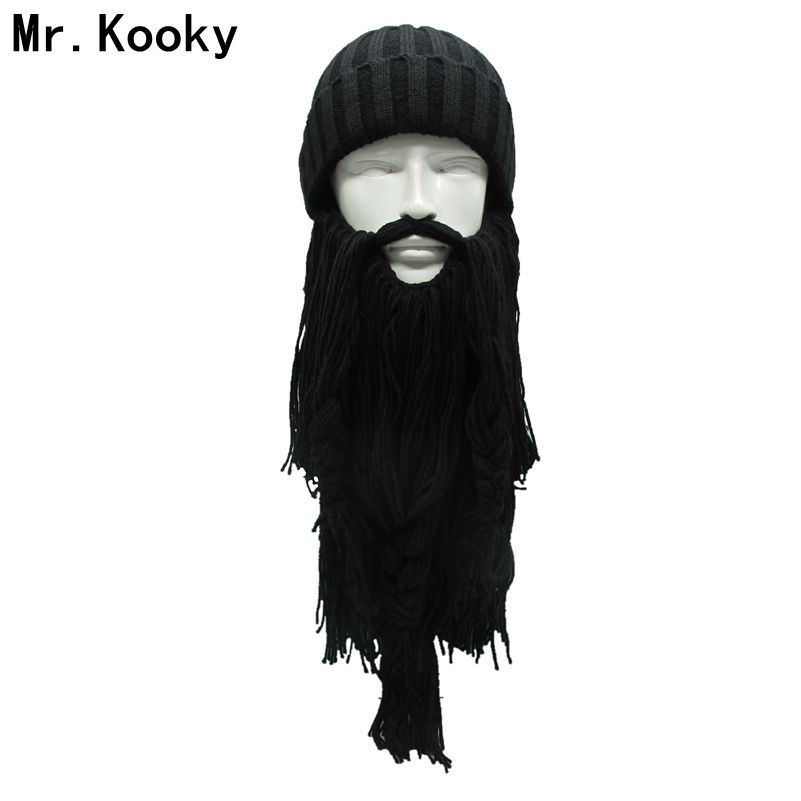 Mr.Kooky Autumn Winter Warm Unisex Viking Hat The Original Barbarian Vagabond Knit Long Beard   Beanie   Cool Gag Funny Unique Gifts