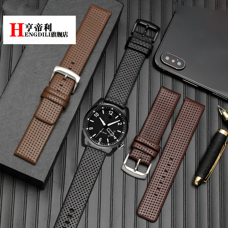 genuine leather watchband for men's AW0010-01/AW0015-08 <font><b>watch</b></font> <font><b>straps</b></font> 20mm 22mm with <font><b>PVD</b></font> black stainless steel buckle image
