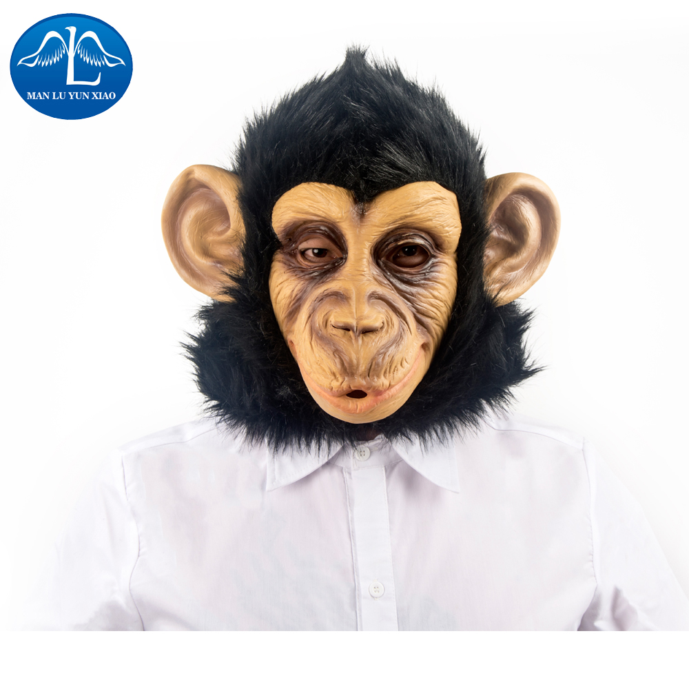 MANLUYUNXIAO  Chimpanzee Mask Full Face Halloween Mask Latex Hood Christmas Party Cosplay Wholesale Cosplay For Adult Man