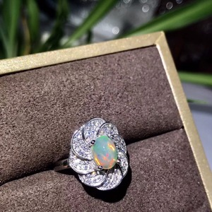 Image 4 - Natural opal woman rings change fire color mysterious  925 silver adjustable size