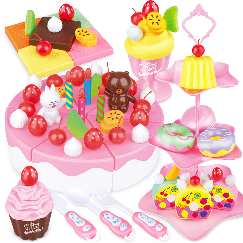 46pcs  Kids Baby Strawberry Cake Tea Time Toys Set ABS Play House Christmas Gifts YH-17