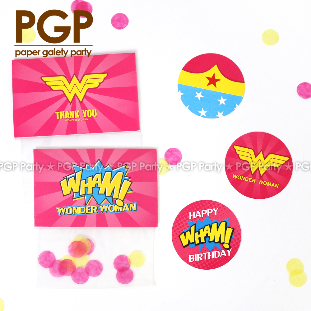 [PGP] Wonder woman candy bag topper tag, for cake DC comic Diana Prince girls First 1st Second 2nd 3rd Fifth 5th Birthday party