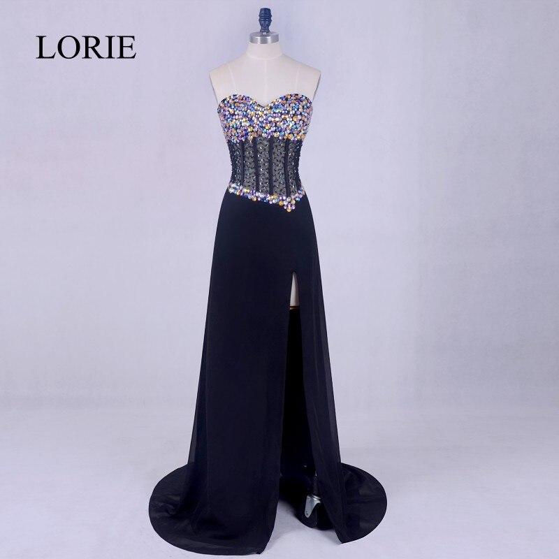 Plus Size Black   Prom     Dresses   2017 LORIE Side Split Leg Chiffon Cheap Long Evening   Dress   Corset Elegant Women Formal Party Gown