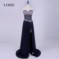 Plus Size Black Prom Dresses 2017 LORIE Side Split Leg Chiffon Cheap Long Evening Dress Corset