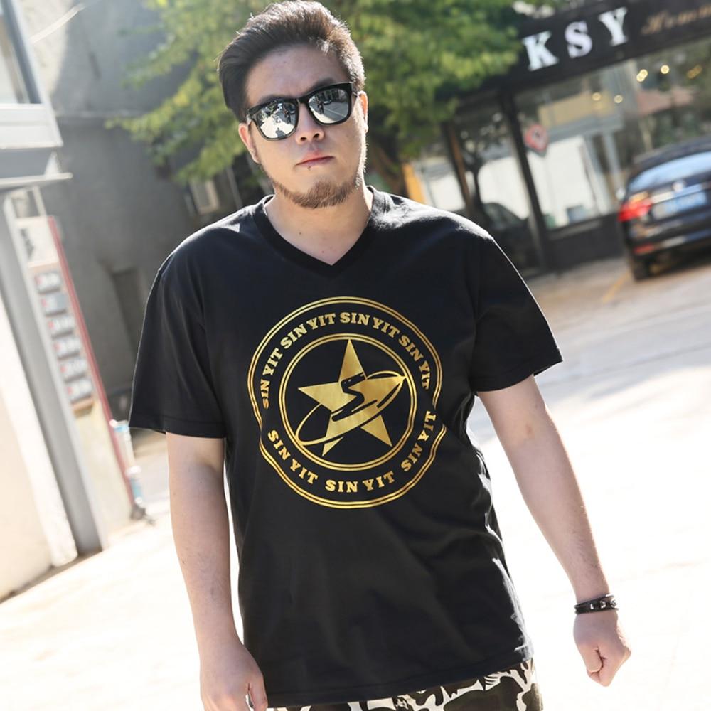 Nuevo 2018 Moda Hombre Camisetas estrella de oro impreso Hip Hop camiseta  los hombres Jersey Camisetas Hombre 3XL 4XL 5XL 183 6038f976b86a9