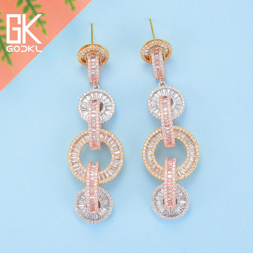 Image 4 - GODKI Luxury Cubic Zircon Crystal CZ Nigerian Long Dangle Earring For Women African Bridal Earring aretes de mujer modernos 2018-in Drop Earrings from Jewelry & Accessories