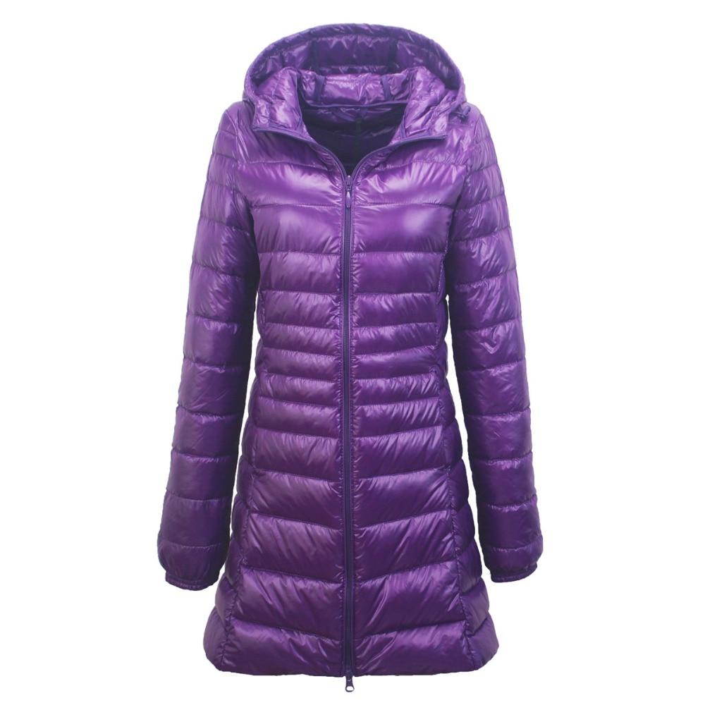 Winter Ultra Light Long Down Jacket Woman Hooded Feather Jacket Warm Slim Coat Female Parkas Plus Size 6XL 7XL Chaqueta Mujer