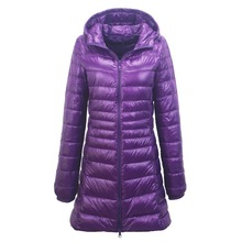 Зимняя Ультра Легкая длинная пуховая куртка женская с капюшоном пуховая куртка теплая тонкое женское пальто парки Большие размеры 6XL 7XL Chaqueta Mujer