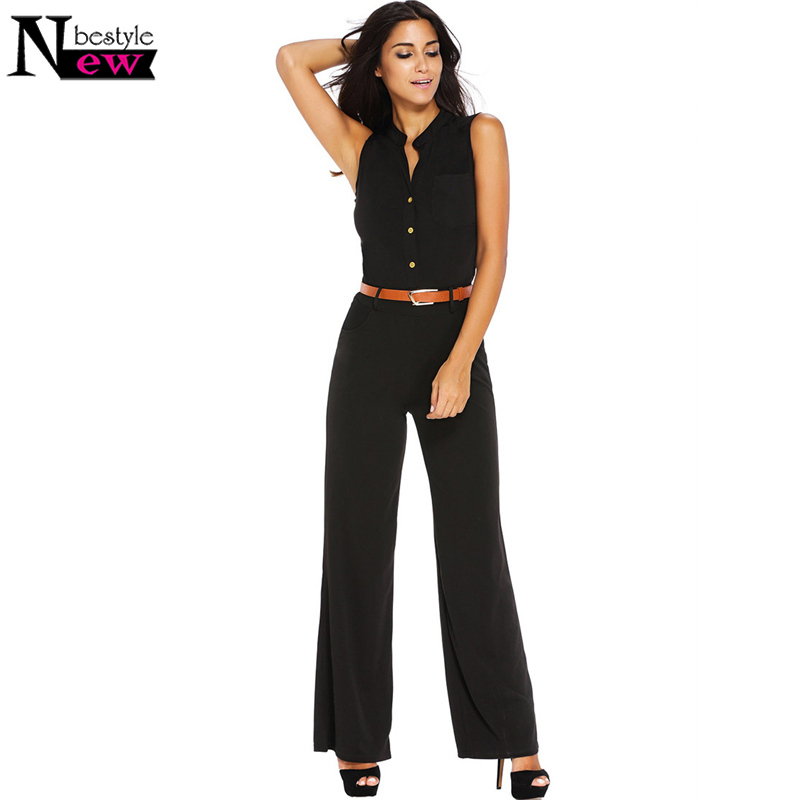 Fashion Big Women Sleeveless Playsuits Maxi Overalls Belted Wide Leg Jumpsuit Macacao Long Pants Loose Bodysuits Plus Size S-2XL