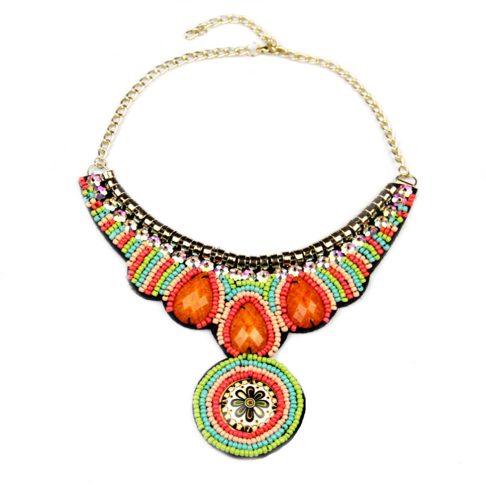 Fashion Boho Style Colorful Acrylic Beads Handmade Collar Seashell Pendant Necklace Jewelry For