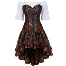 Кожаное бюстье, корсетное платье в стиле бурлеск, Корсетная юбка в стиле стимпанк, пиратское нижнее белье размера плюс, маскарадный костюм коричневого цвета из трех предметов