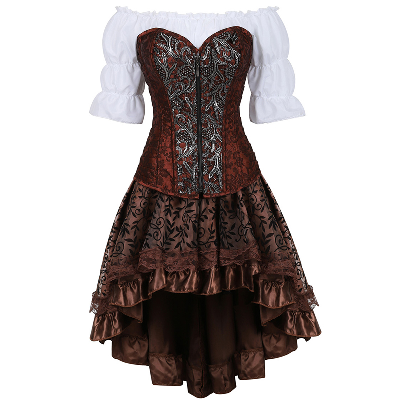 leather bustier corset dress burlesque steampunk corset skirt pirate lingerie plus size cosplay masquerade brown three piece-in Bustiers & Corsets from Underwear & Sleepwears