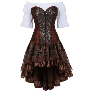 Image 1 - leather bustier corset dress burlesque steampunk corset skirt pirate lingerie plus size cosplay masquerade brown three piece