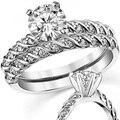 LASAMERO ASCD Ronda 1 CT Anillo de Compromiso de Diamantes Simulados de la Cuerda Estilo Pave Set 925 Nupcial de La Boda Set